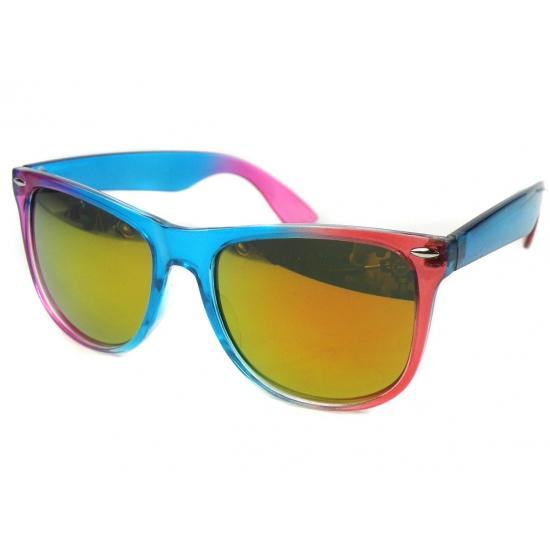 96ecff0ed5e197 Blauw met roze spiegel zonnebril